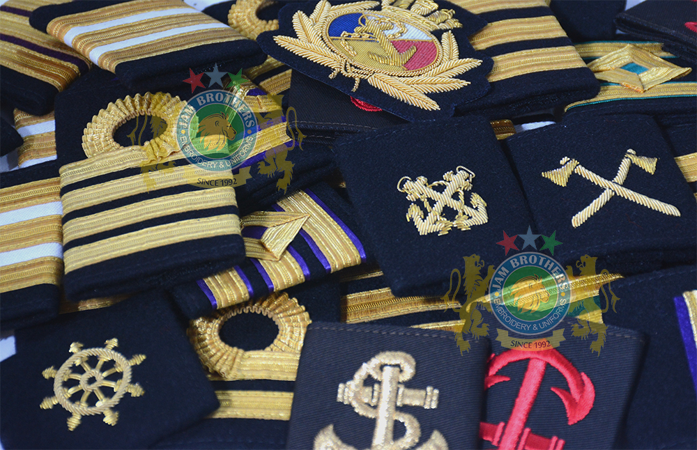 JAM Brothers Embroidery and Uniforms Merchant Navy Ranks Merchant Navy Sliders Marine MerchantNavy Uniforms Ranks Braid Lace NavalLace Anchor Ship Cruise Crew Titanic Maersk Sliders Epaulets Diamond Ring Lace